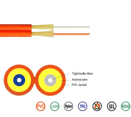 China Duplex Indoor PVC LSZH Cable Optical Fiber Cord G652D Aramid Yarn PVC Jacket supplier